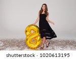 sexy  beautiful girl in black...   Shutterstock . vector #1020613195
