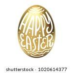 happy easter lettering in egg.... | Shutterstock .eps vector #1020614377