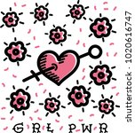 grl pwr girl power lettering.... | Shutterstock .eps vector #1020616747
