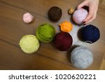 girl is holding in hand on of... | Shutterstock . vector #1020620221