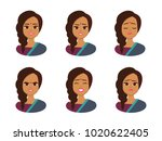 set facial expressions of young ... | Shutterstock .eps vector #1020622405