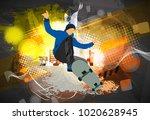 skateboarder jump  sport... | Shutterstock .eps vector #1020628945