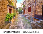 groznjan cobbled street and old ... | Shutterstock . vector #1020636511