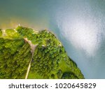 aerial view of a lake and... | Shutterstock . vector #1020645829