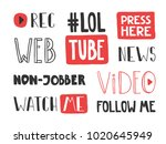 you tube video channel player.... | Shutterstock .eps vector #1020645949