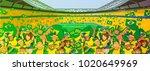 brazil soccer fans | Shutterstock .eps vector #1020649969