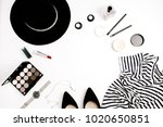 woman fashion flatlay. frame of ... | Shutterstock . vector #1020650851