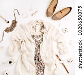 flat lay fashion concept.... | Shutterstock . vector #1020650875