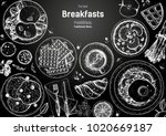 breakfasts top view frame.... | Shutterstock .eps vector #1020669187
