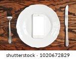 white smartphone with big white ... | Shutterstock . vector #1020672829