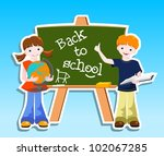 boy and girl  with blackboard... | Shutterstock .eps vector #102067285