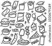 fast food doodle icons hand... | Shutterstock .eps vector #1020679189