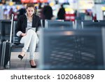 young female passenger at the... | Shutterstock . vector #102068089