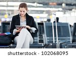 young female passenger at the... | Shutterstock . vector #102068095