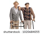 Elderly Man With A Walker And...