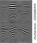 warped black and white lines... | Shutterstock . vector #1020686944