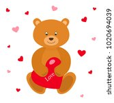 teddy bear with red heart.... | Shutterstock .eps vector #1020694039