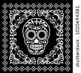 bandana with sugar skull | Shutterstock .eps vector #1020694381