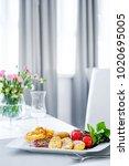 restaurant interior with meal | Shutterstock . vector #1020695005