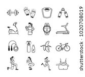 set of 16 fitness outline icons