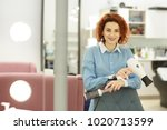 attractive young red haired... | Shutterstock . vector #1020713599