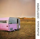 cute vintage camper trailer in... | Shutterstock . vector #1020726904
