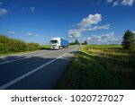 truck driving on the asphalt... | Shutterstock . vector #1020727027