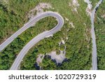 aerial view on road serpentine... | Shutterstock . vector #1020729319