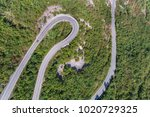 aerial view on road serpentine... | Shutterstock . vector #1020729325