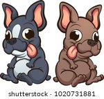 cartoon french bulldog puppies... | Shutterstock .eps vector #1020731881