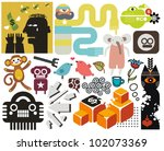 mix of different vector images... | Shutterstock .eps vector #102073369