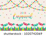 2018 carnival greeting card... | Shutterstock .eps vector #1020742069