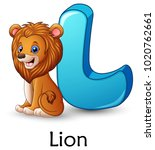 letter l is for lion cartoon... | Shutterstock .eps vector #1020762661