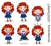 illustration of cute curly red... | Shutterstock .eps vector #1020764467