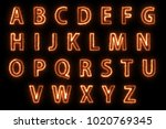 fire solar english alphabet... | Shutterstock . vector #1020769345