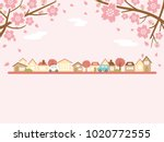spring town scape with cherry... | Shutterstock .eps vector #1020772555