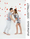 valentines day lovely caucasian ... | Shutterstock . vector #1020779827