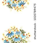 greeting card with flowers ... | Shutterstock . vector #1020789475