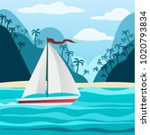 blue tropical sea and beach... | Shutterstock .eps vector #1020793834