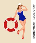 sailor girl pin up | Shutterstock .eps vector #102079729