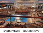 deck with pool on cruise liner... | Shutterstock . vector #1020808099