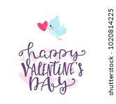 valentine card with cartoon... | Shutterstock .eps vector #1020814225