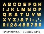 golden letters   bold | Shutterstock .eps vector #1020824341