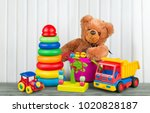toys collection on wooden desk | Shutterstock . vector #1020828187
