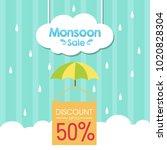 monsoon sale illustration | Shutterstock .eps vector #1020828304
