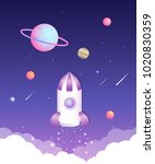 space world illustration | Shutterstock .eps vector #1020830359