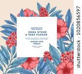 floral retro wedding invitation....   Shutterstock .eps vector #1020856597