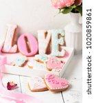 pink homemade cookies with... | Shutterstock . vector #1020859861