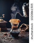 making fresh coffee by woodneck ... | Shutterstock . vector #1020861505