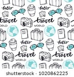 hand drawn doodle travel pattern | Shutterstock .eps vector #1020862225